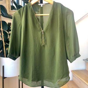 Naked Zebra zip-front short sleeve blouse